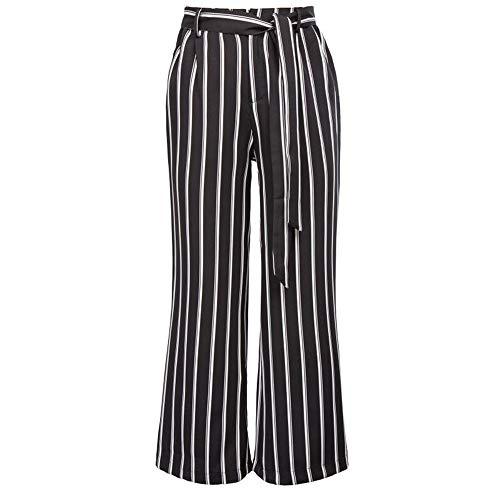 Women Pants,Women Casual Striped High Waist Harem Pants Loose Bandage Elastic Waist Pants Wide Leg Chaofanjiancai ()