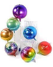 PartyWoo 4D Foil Balloons, 7 pcs 22 Inch Giant Foil Balloon 4D Round Foil Balloons Jumbo Foil Balloon Orbz Balloon Foil Round Balloon, Jumbo Party Balloons for Disco Party, 70's Party, Vintage Party