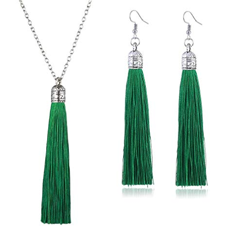 Tuoke-peri Colorful Long Tassel Necklace Dangle Earrings Bohemian Drop Pendant Jewelry Sets for Women and Girls (13 M Green)