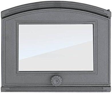 Puerta de Horno para Pizza o Horno de Madera de Hierro Fundido con Placa de Horno, Dimensiones Exteriores: 372 x 315 mm, dirección de Apertura: Derecha