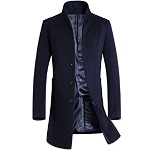 Mordenmiss Men's Winter Woolen Long Trench Coat Business Outfit Down Jacket Navy L