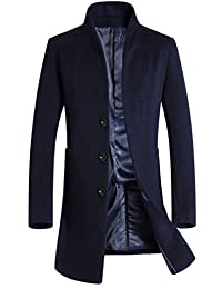 Mordenmiss Men's Long Sleeve Trench Coat Side Pockets