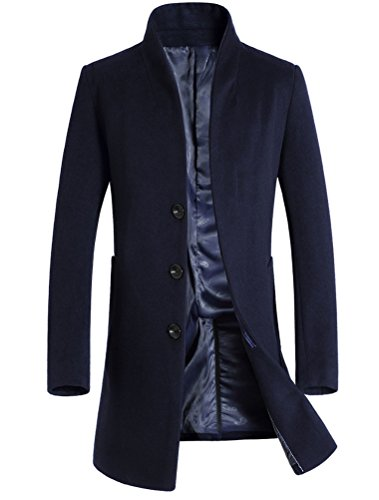 Mordenmiss Men's French Woolen Coat Business Down Jacket Trench Topcoat Navy XS