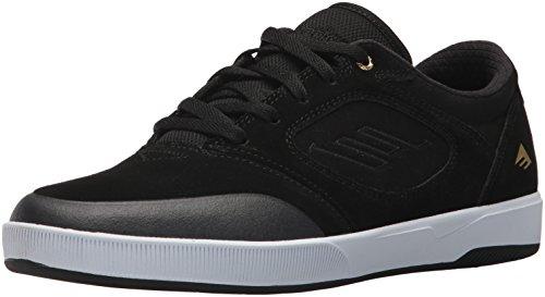 Emerica Mens Afwijkende Skate Schoen Zwart / Wit / Goud