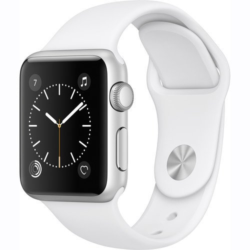 Apple Watch Series 1 Smartwatch 42mm Silver Aluminum Case, White Sport Band (Newest Model) (Renewed)
