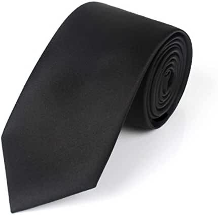 SIHE Classic Men's Tie Necktie Woven Tie Satin Finish Polyester Ties Solid Colors