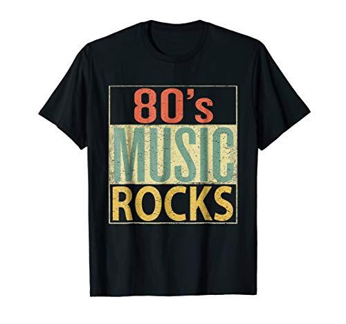 80s Music Rocks Shirt. Vintage 80s Style Retro Colors TShirt ()
