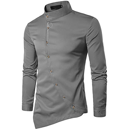 (IYFBXl Men's Chinoiserie Cotton Slim Shirt - Solid Colored Basic Standing Collar/Long Sleeve,Gray,XL)