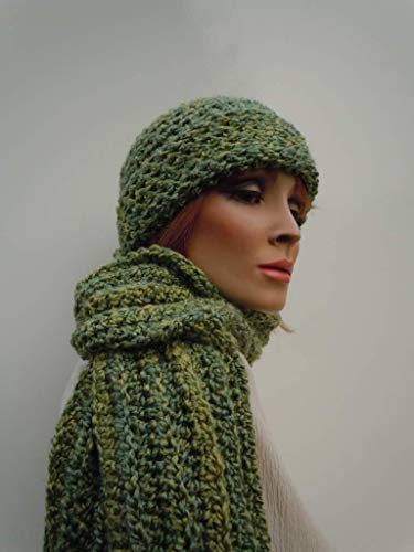 b54bba9f Amazon.com: Green Hat Scarf Set, Olive Green Hat Scarf, Multi Green,  Crochet Hat Scarf, Women Hat Scarf, Winter Hat and Scarf, Cold Weather Set:  Handmade