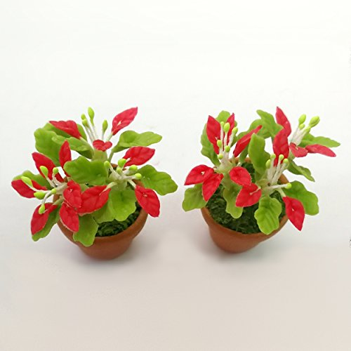The Best Buy Dollhouse Miniature Christmas /Poinsettia Tree in Terracotta Pot 1:12 Scale