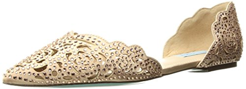 Blue by Betsey Johnson Women's SB-Lucy Flat Sandal, Blush Satin, 8 W (Satin Womens Flat)
