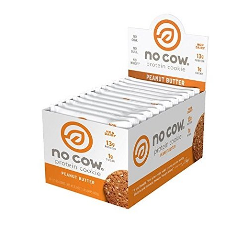 No Cow Protein Cookie, Peanut Butter, 13g Plant Based Protein, Low Sugar, Dairy Free, Gluten Free, Vegan, 12 Count