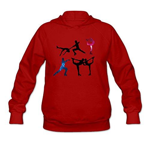 Women's Figure Skating Long Sleeve Hooded Sweatshirt Large Red
