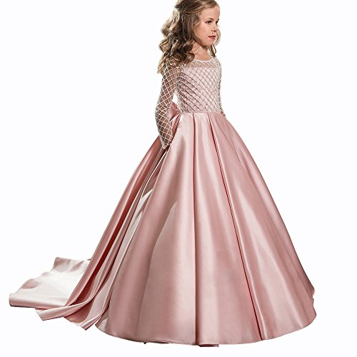 Christmas Fancy Flower Girl Dress Floor Length Button Draped Pink Long Sleeves Tulle Ball Gowns For Kids Pink Size 2 for $<!--$53.00-->