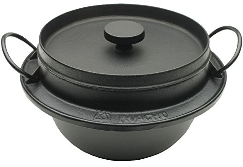 Iwachu 410-719 Japanese Cast Iron Gohan Nabe Rice Cooker, Black
