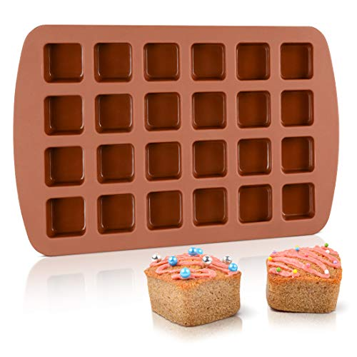 Bite-Size Brownie Silicone Baking Molds - Square Small Brownie Pan 24-Cavity Silicone Molds ()