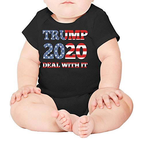 - Trump 2020 Deal with IT Political Humor Flag Baby Onesies Black Outfits Organic One-Piece Cotton Short Sleeve