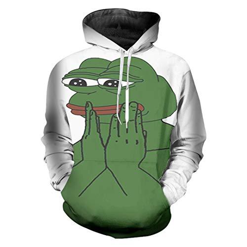 Men Sweatshirt Hoodies 3D Print The Frog Hip Hop Tops Long Sleeve Sweats Pepe Frog White L