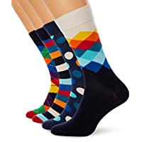 Happy Socks, Assorted Colorful Premium Cotton Sock 4 Pair Gift Box for Men and Women, Mix Pattern Gift Box (10-13)