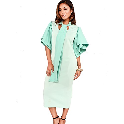 (Bodycon4U Womens Ruffle Sleeve Bow-Tie Front Bodycon Elegant Cocktail Party Club Dress Green 2XL)
