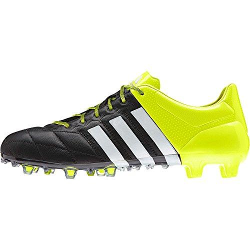 adidas ACE 15.1 FG/AG Leather - Botas para hombre Negro / Blanco / Lima