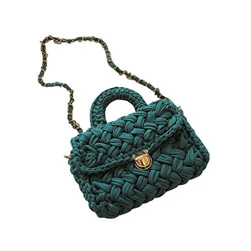 (CHUNKUNA Vintage Straw Purse Hand Woven Straw Crossbody Bag Evening Bag Clutch Purse Chest Bag (Mint Green))