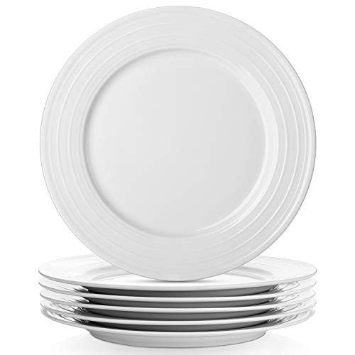 LIFVER 10 Inch Porcelain Dinner Plates, Serving Platters with Embossed Ring Rim, White, Set of 6