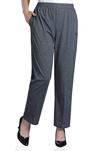 Soojun Womens Stretch Knit Pants Pull On Pants with Elastic Waist, 2 Dark Grey, 10 Petite ()
