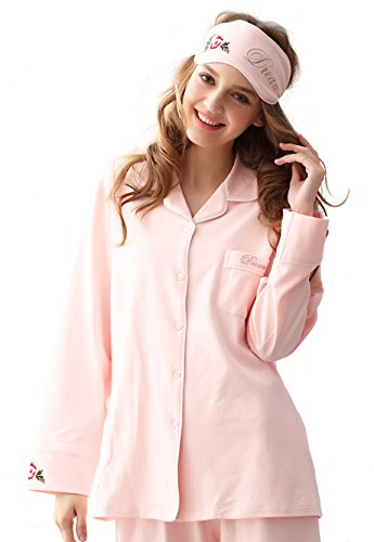 MyDream Women 100% Cotton Soft Cozy Pajamas Set Button Front Long Sleeve Top (100 Cotton Fleece)