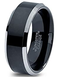 Tungsten Wedding Band Ring 8mm for Men Women Comfort Fit Black Grey Beveled Edge Brushed Polished