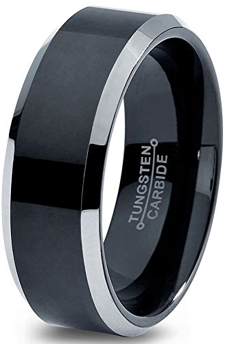 Charming Jewelers Tungsten Wedding Band Ring 8mm for Men Women Comfort Fit Black Grey Beveled Edge Brushed Polished Size - Beveled Polished Band
