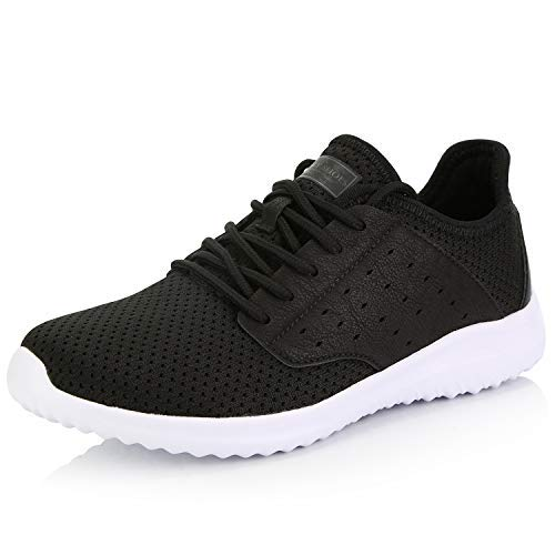 DailyShoes Women's Sneakers Running Shoe Walking Cross Training Sneakerss Perforated Lightweight Athletic Sports Shoes Breathable Wide Width Comfort Black,White,mesh,9 (Popular Sneakers)