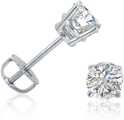 IGI Certified 1/2ct TW Round Diamond Stud Earrings in 14K White Gold with Screw Backs