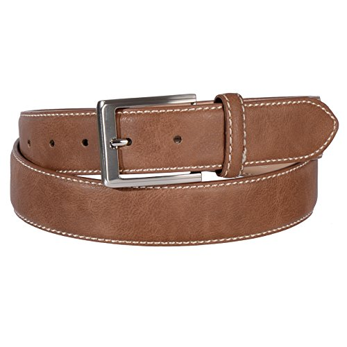 Land Leather Collection (Landes Men's Classic Stitched Edge Classic Belt with Metallic Buckle (Cognac, 42))