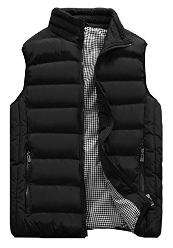 (HOW'ON Mens Classic Quilted Down Puffer Vest Black L)