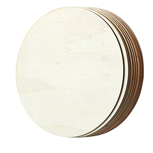Unfinished Wood Circle - 10-Pack Round Natural Rustic Wooden Cutout for Home Decoration, DIY Craft Supplies, 10-inch Diameter, 0.1 inch Thick