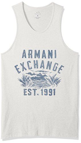 A|X Armani Exchange Men's Cotton Jersey Palm Tree Tank, Light Grey, - Men Top Designer