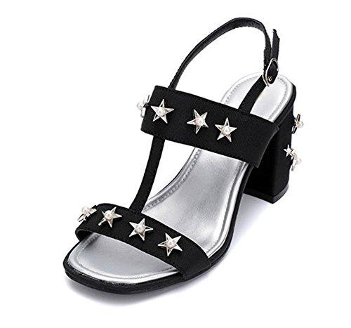 Sommer offene Sandalen Damenmode Sandalen mit dicken hochhackigen Sternen Black
