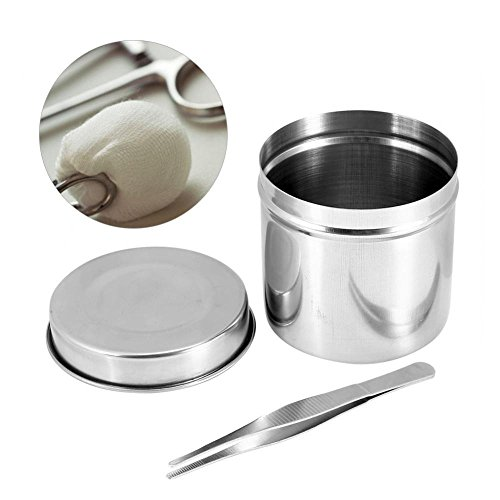 Stainless Disinfection Case, 3 Sizes Stainless Steel Box Jar Tank Sterilization Container Box with Tweezers for Tattoo Cotton Ball Gauze Tampon(10cm)