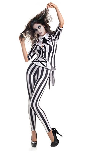 (Party King Women's Graveyard Ghost Costume, Black/White,)