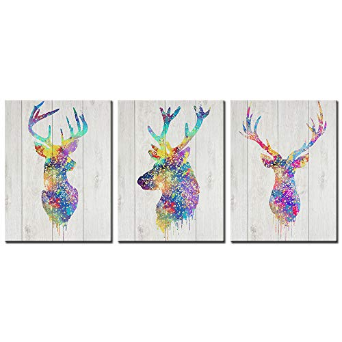 Biuteawal - Animal Deer Decor Canvas Prints Elk Head Stag Silhouette Wall Art Painting 3 Pieces Abstract Artwork for Home Office Living Room Bedroom Wall Decor Framed Ready to Hang (Head Framed Deer)
