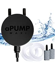 Quiet Aquarium Air Pump - Fish Tank Air Pump - Fish Oxygen Air Pump Accessories Silicone Tubing Air Stone Aquarium Kit - for Aquarium up to 180L by aPump Maxi Plus (for Aquariums up to 180L)