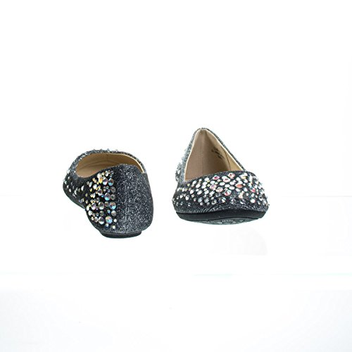on Flats Toe Iridescent Ballet Studs Rhinestone Vamp Pewter Glitter Round with Womens fgHpwqf8x