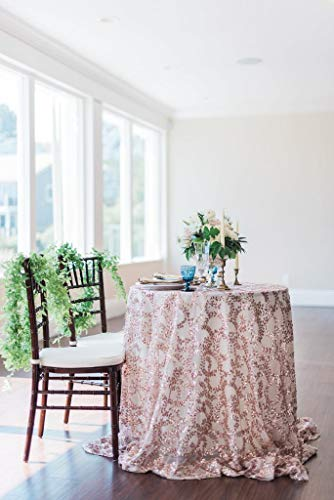 B-COOL Rose Gold Vine Round Sequin Tablecloth 120