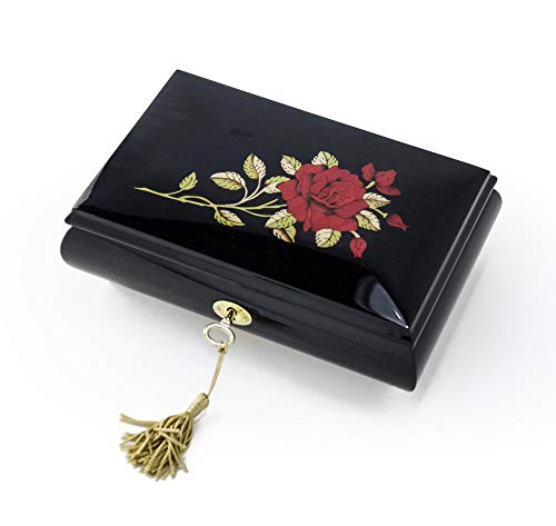 (Enchanting Black Lacquer Single Red Rose With Gold Hardware Music Jewelry Box - Over 400 Song Choices - Dance of the Sugar Plum Fairy,Nutcracker Suite)