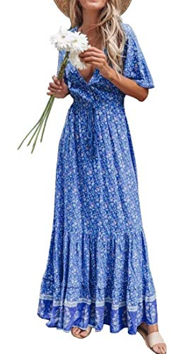 R.Vivimos Womens Summer Cotton Short Sleeve V Neck Floral Print Casual Bohemian Midi Dresses (XL, Blue)