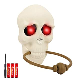 FiGoal Halloween Skull Doorbell with LED Eyes and Sound Effect Halloween Light Up Talking Doorbell for Door Decorations Outdoor House Party Bar Door