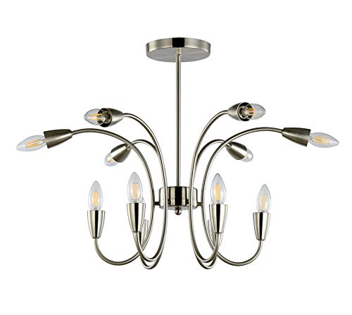 12-Light Fixture Chandeliers Lighting Vintage Flush Mount Pendant Lamp with E12 Bulb Sockets 480W Brushed Nickel Finish for Dining Room Living Room Bedroom, H43.31xL24.41inch ()