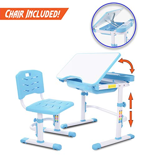 41o3JDTGqyL - VIVO Height Adjustable Children's Desk and Chair Set, Grey