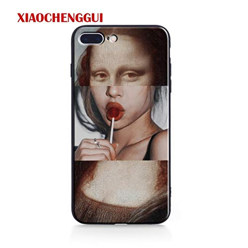 Mona Lisa Sketch - Funny Mona Lisa iPhone X Case Painting Lollipop Mona Lisa XS Cover Freaky Artistic Artwork Sexy Lips iPhone Back Case Drawing Spoof Stylish Shockproof Soft TPU